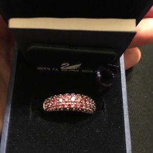 Swarovski pink crystal silver ring!
